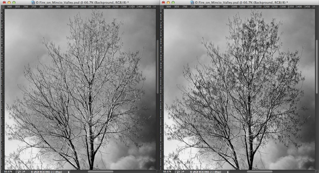 Improvement of the tonal contrast using the blue filter