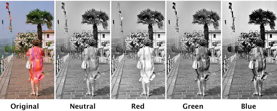 Color filters for black & white comparison