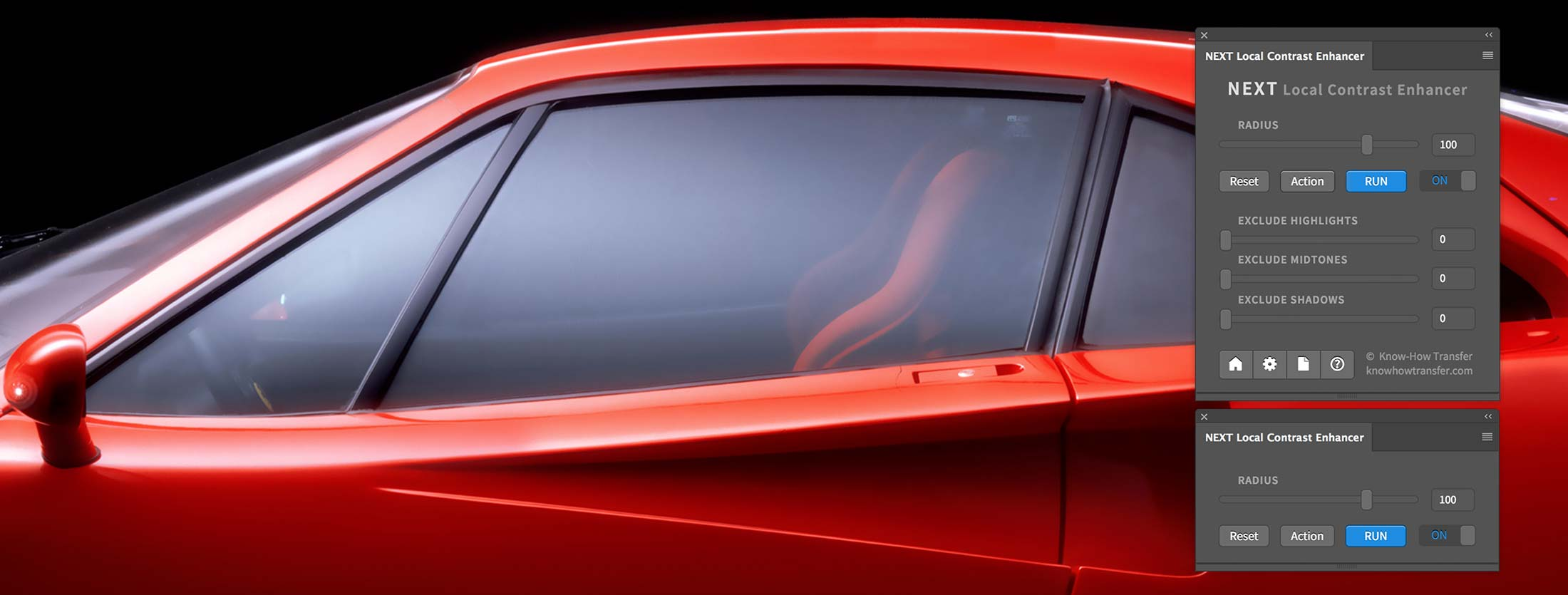 NEXT Local Contrast Enhancer Panel in compact and extended mode with a Ferrari F40