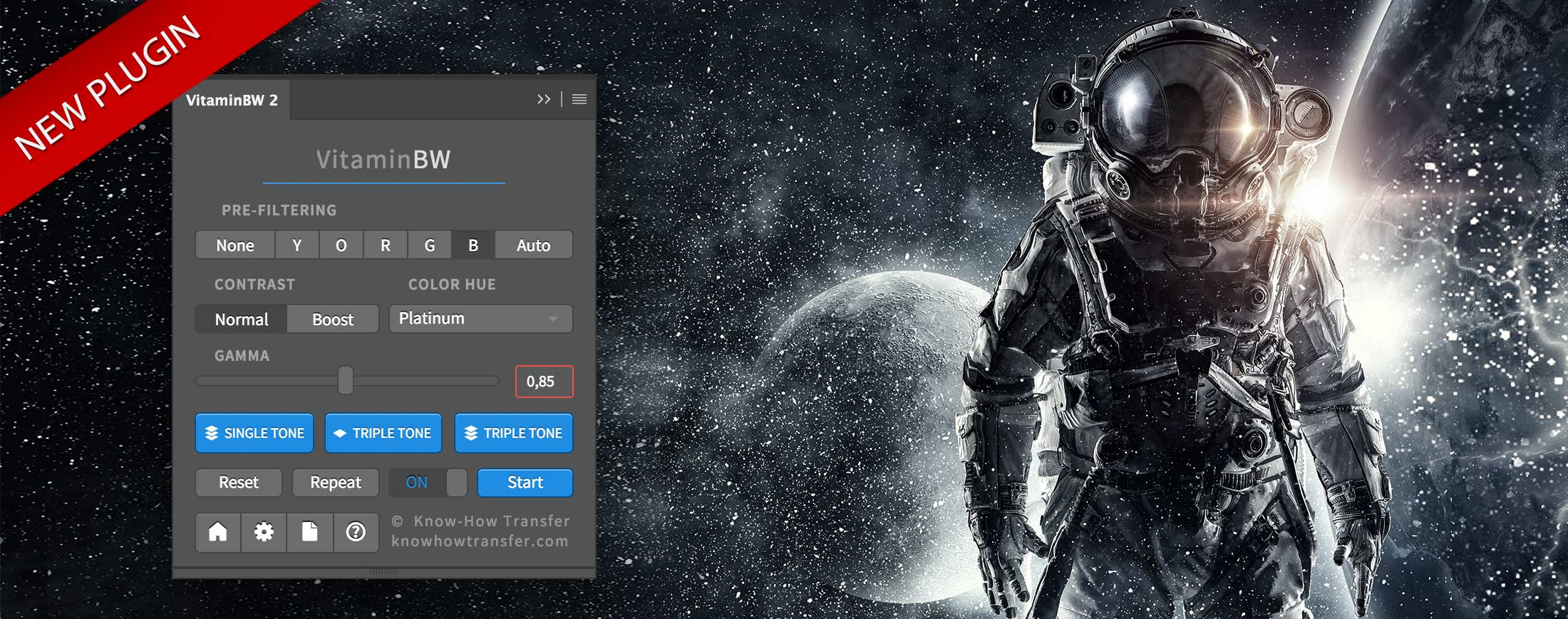 The Panel and a Space Image tuned with the new VitaminBW 2 Black&White Converter