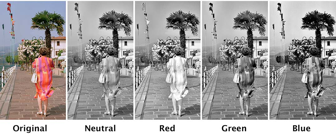 Color filters for black & white comparison