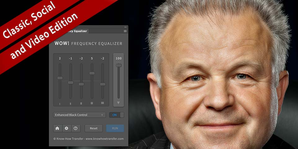 Man portrait tuned by Wow! Frequency Equalizer Pro and plugin interface