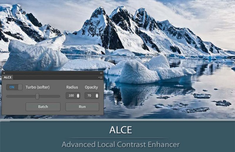 ALCE Local Contrast Enhancer Panel and a sample of application
