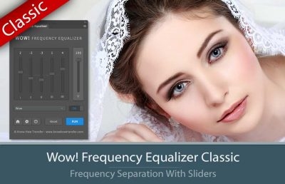 Wow! Frequency Equalizer Classic Edition plugin with interface and a bride portrait tuned by Wow!