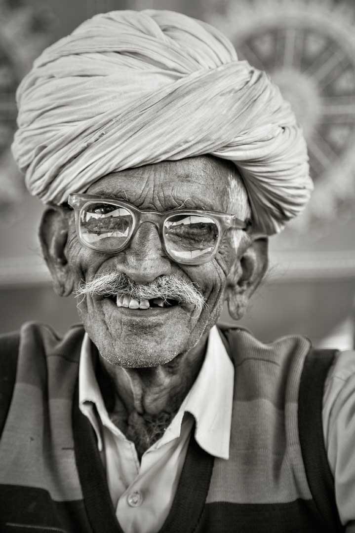Smiling man from the Rajashtan Portfolio by Shari Hartbauer