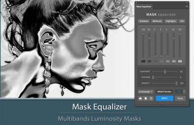 Mask Equalizer Plugin for Photoshop. Interface and a sample of a mask