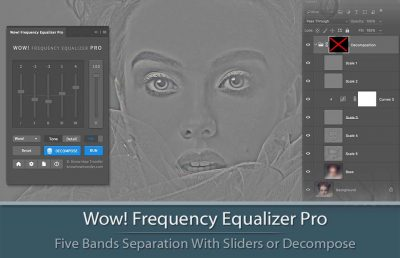 Interface of Panel and Decompose window of Wow Frequency Equalizer plugin for Photoshop