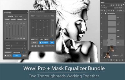 Bundle of Wow! Frequency Equalizer Pro and Mask Equalizer with panels interface, decompose window and a sample of a mask.