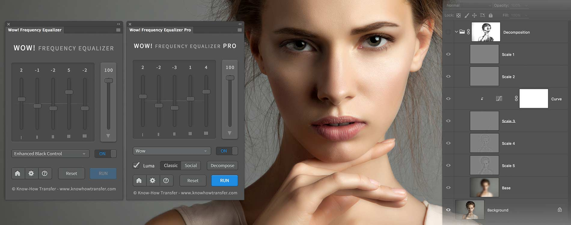 Wow Frequency Equalizer Classic and Pro Edition panel and decompose window and a woman portait