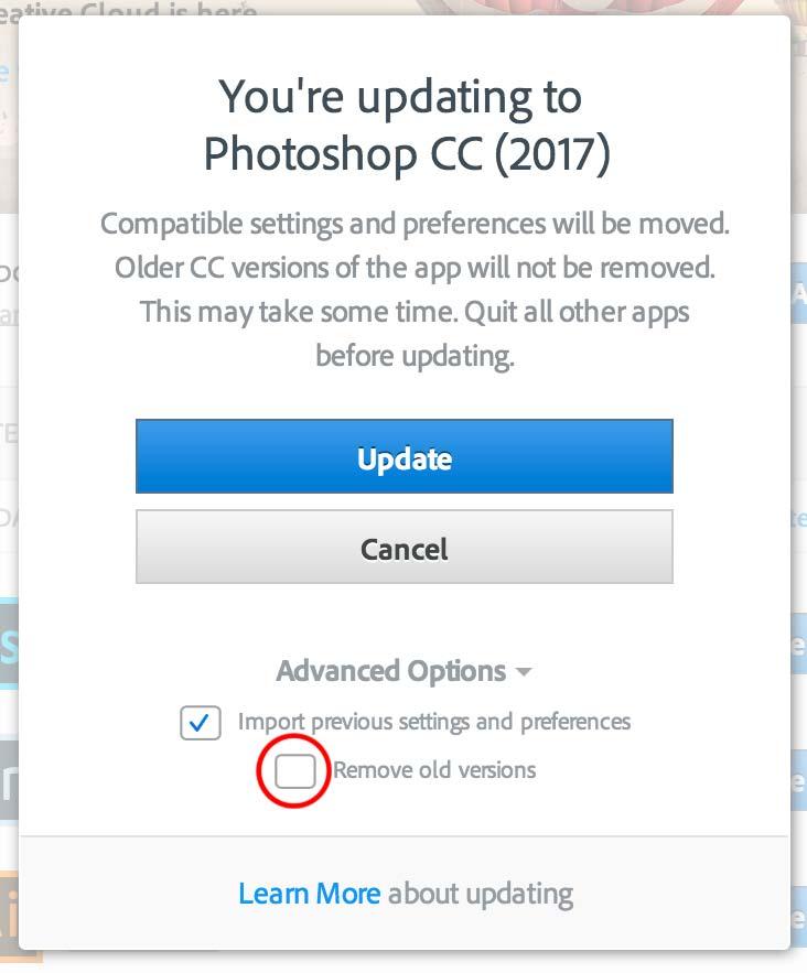 Remove old version tab upgrading Photoshop CC 2017