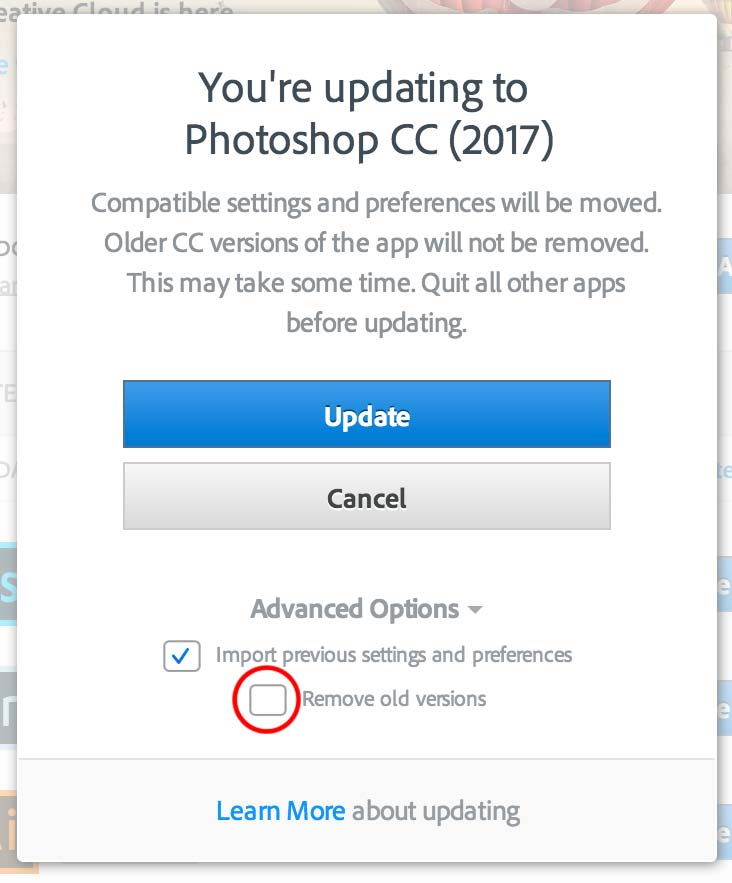 Remove old version tab upgrading Photoshop CC 2017