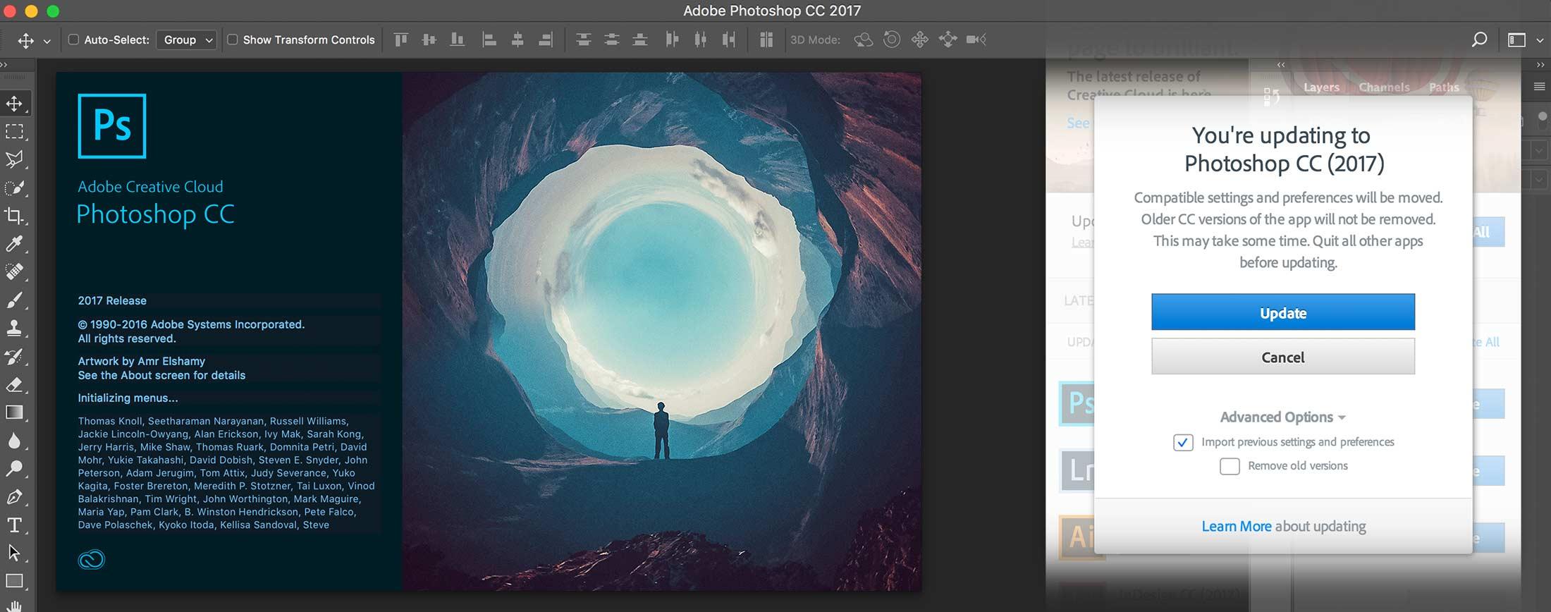 New Photoshop CC 2017 interface