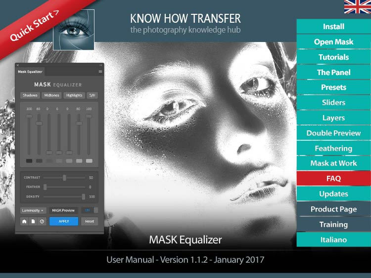 The Front-Page of the user manual of Mask Equalizer Luminosity Mask Plugin for Photoshop. Mask Equalizer Training Page