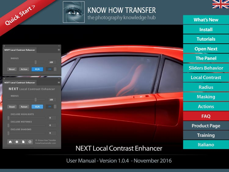 The cover of the new interactive user manual of NEXT Local Contrast Enhancer