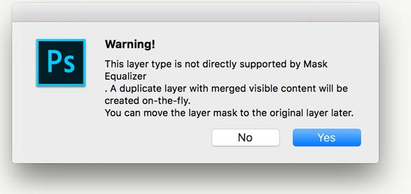 Photoshop alert about non pixel layers. Mask Equalizer Training Page