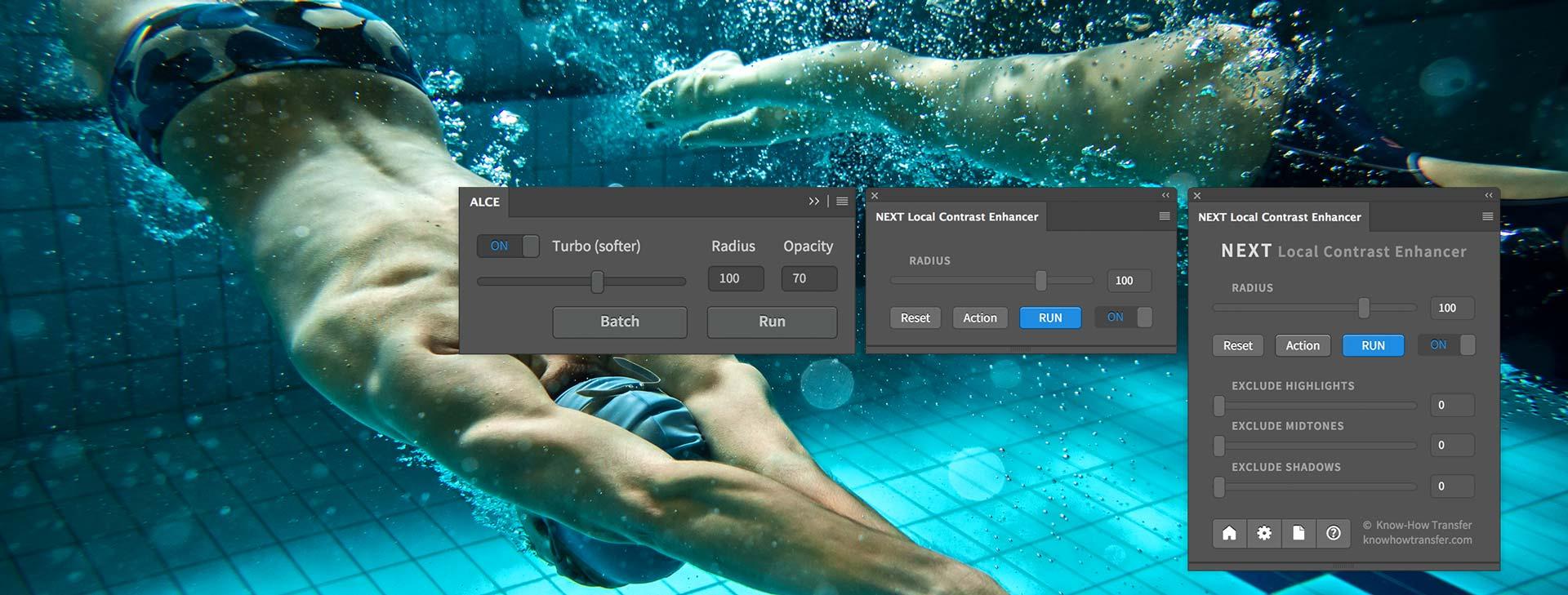I pannelli di ALCE e NEXT a confronto con un esempio di applicazione di NEXT Local Contrast Enhancer