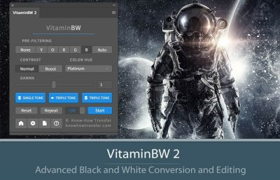 VitaminBW 2 Photoshop Plugin sample of confersion and panel interface