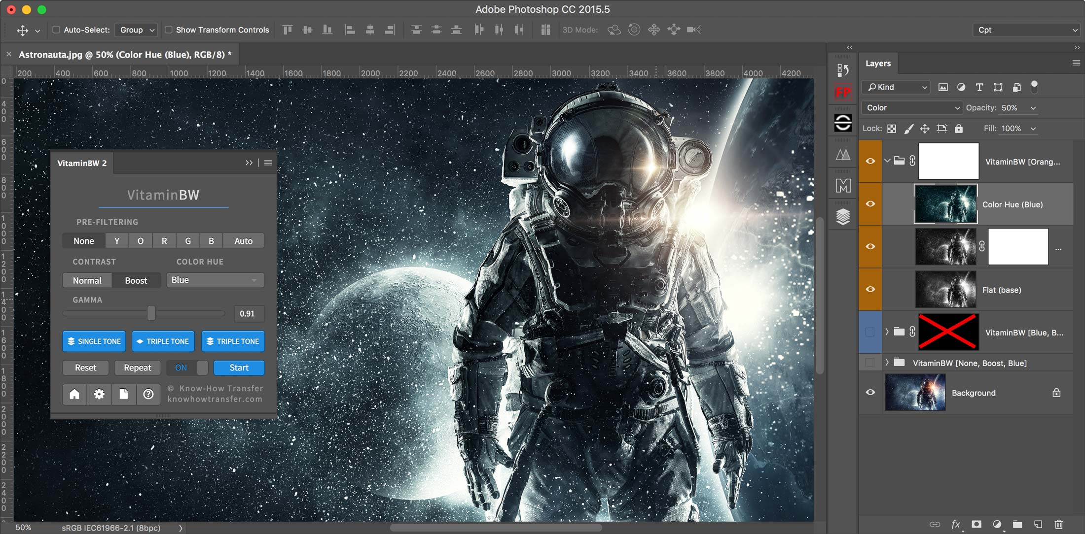 Triple Tone interface in Photoshop