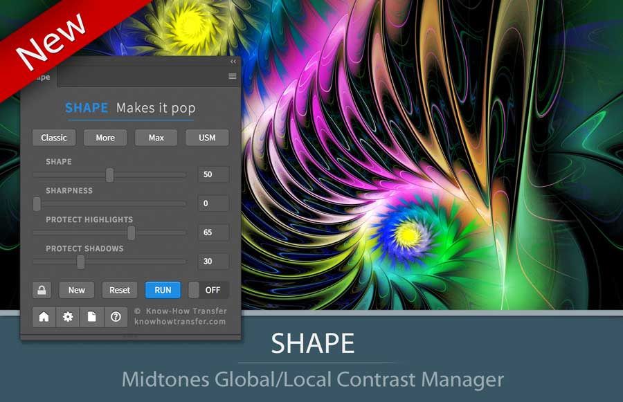 Il pannello di Shape plugin per Photoshop CC in modalità estesa con un esempio di conversione