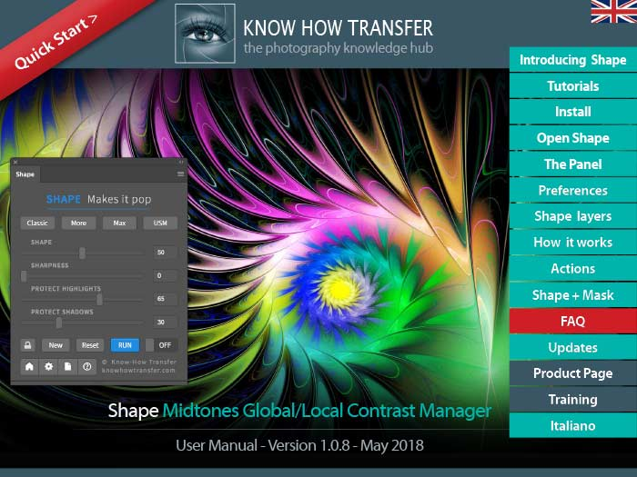 The cover of the user manual of Shape plugin for Photoshop CC with the panel and a sample of application