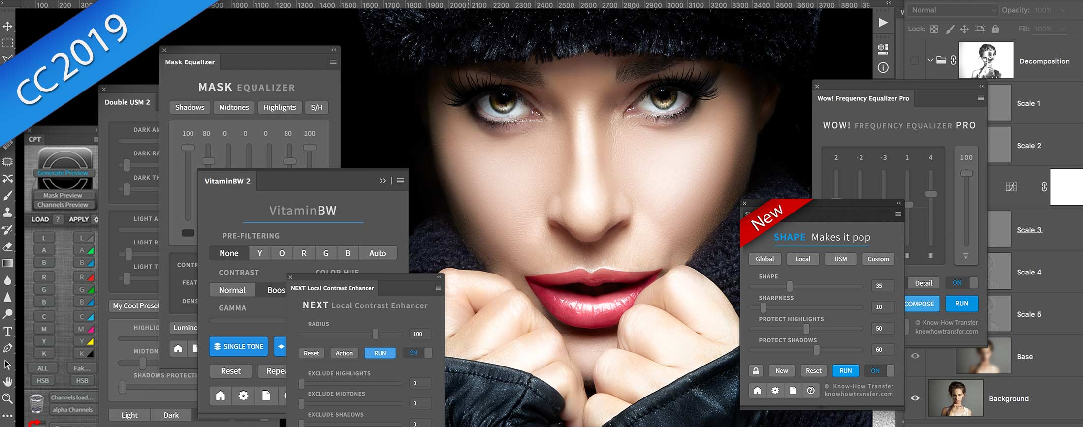 The range of the Know-How Transfer plugins for Photoshop including the new Shap