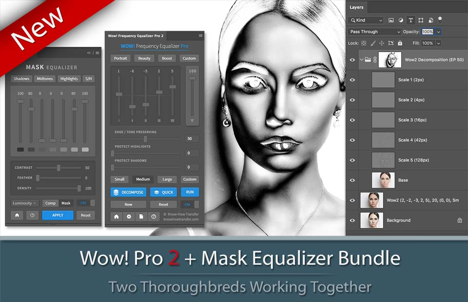 Bundle of Wow! Frequency Equalizer Pro 2 and Mask Equalizer with panels interface, decompose window and a sample of a mask.