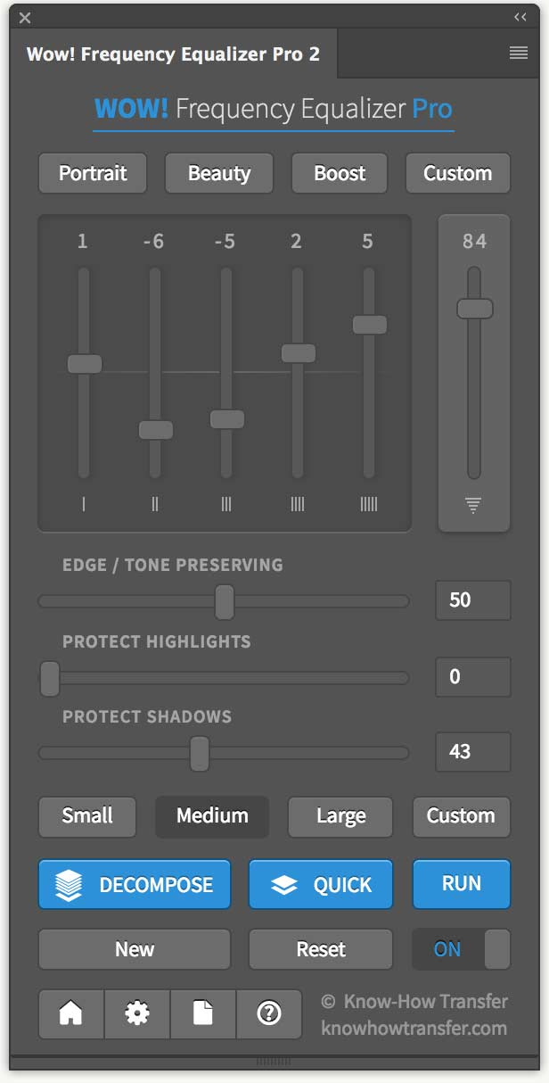 The Panel of Wow! Frequency Equalizer Pro 2 for Photoshop