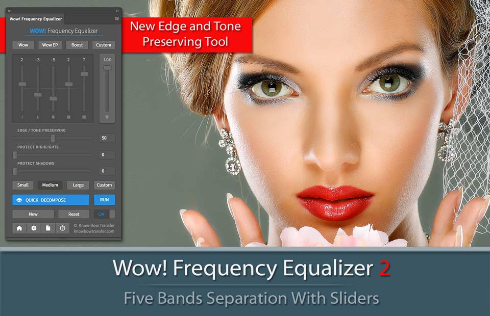 Wow! Frequency Equalizer 2 Plugin for Photoshop CC - The panel and an image tuned by Wow! 2