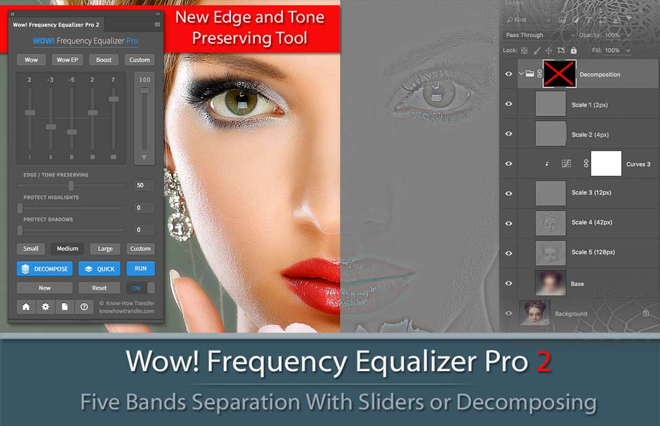 Wow! Frequency Equalizer Pro 2 Plugin for Photoshop CC - The panel, the pyramid of decomposed layers and an image tuned and decomposed by Wow Pro 2!