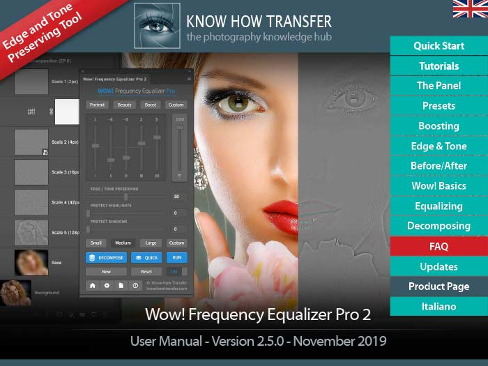 The cover of the user manual of Wow! Frequency Equalizer Pro 2 for Photoshop CC with the panel, the decompose pyramid and a sample of application