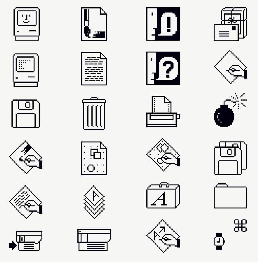 Vintage Macintosh Icons by Susan Kare