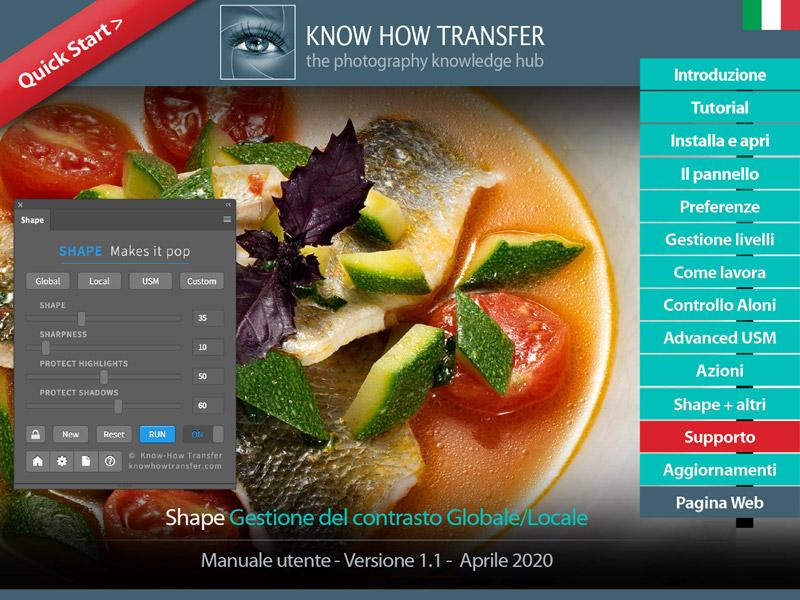 La copertina del manuale utente di Shape 1.1 con i pulsanti interattivi