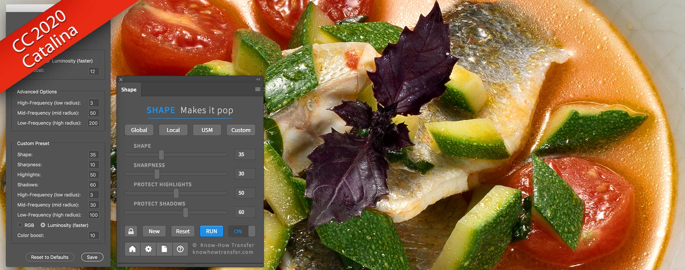 Shape Plugin for Photoshop Interface and Prefernces window plus a sample of Shape appliedC