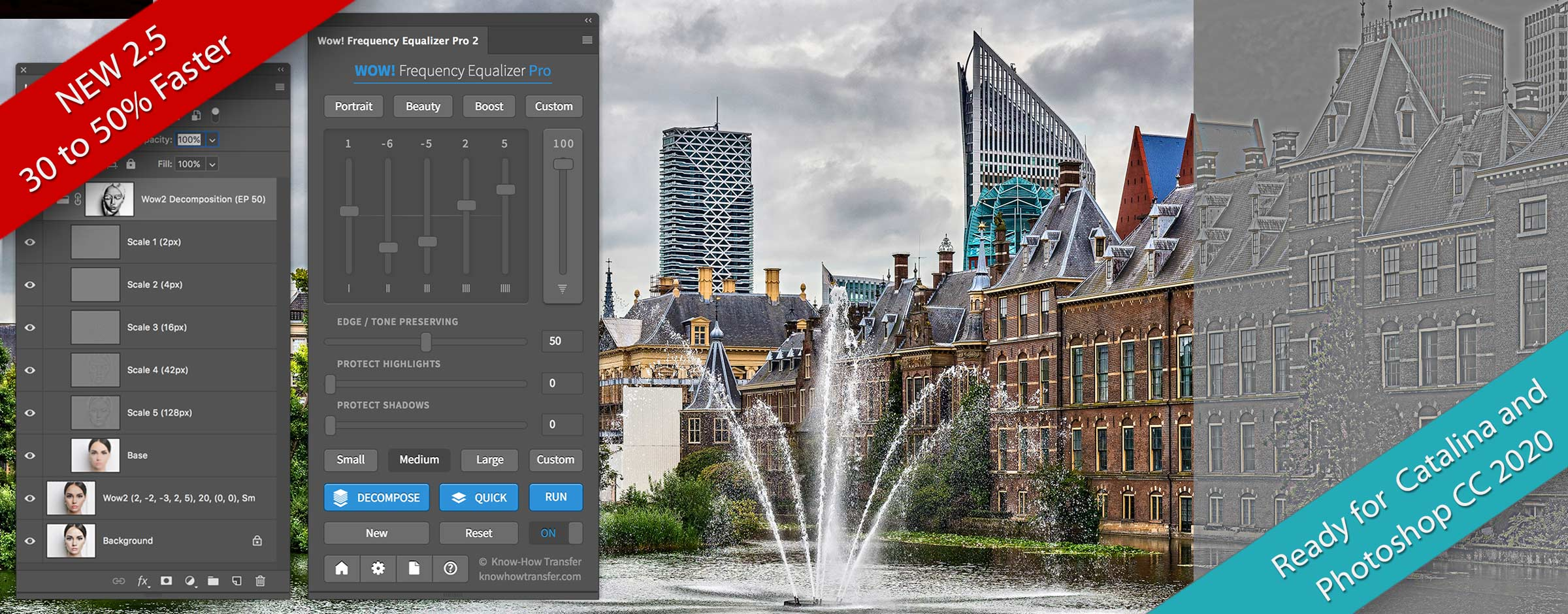 Wow! Frequency Equalizer Pro 2 with Panel, decomposed pyramid used on an image of the Dutch Parliament tuned in Wow!. On the right a sample of a scale layer.